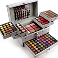 Miss Rose professional makeup set in Aluminum box three layers include glitter eyeshadow lip gloss blush for makeup artist MS067