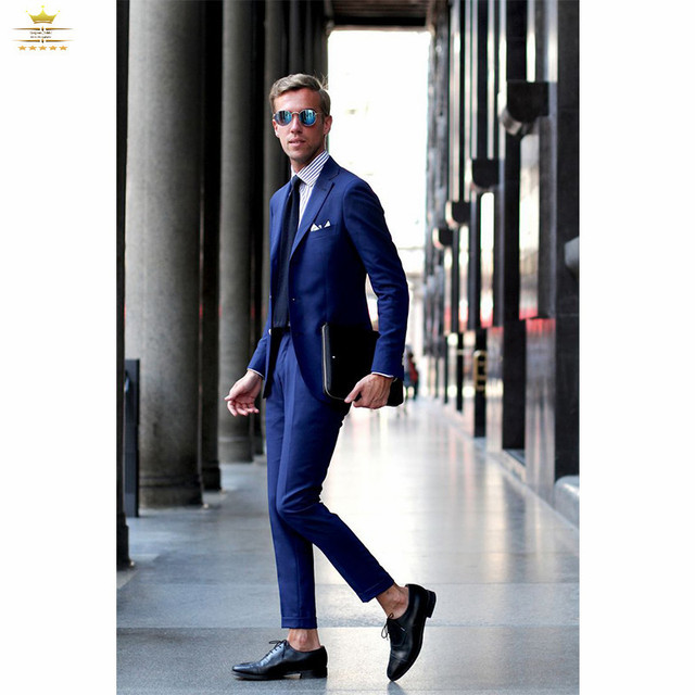 Royal Blue Suit With Pants Custom Grooms Mens Tuxedos Slim Fit Business  Notch Lapel Two Buttons Jacket + Pants+Tie LY0687 6e83aaa00