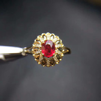 18k Gold Natural Red Ruby Ring Luxury Gemstone Ring Hand Jewelry Hot Sale MEDBOO Classic Wedding