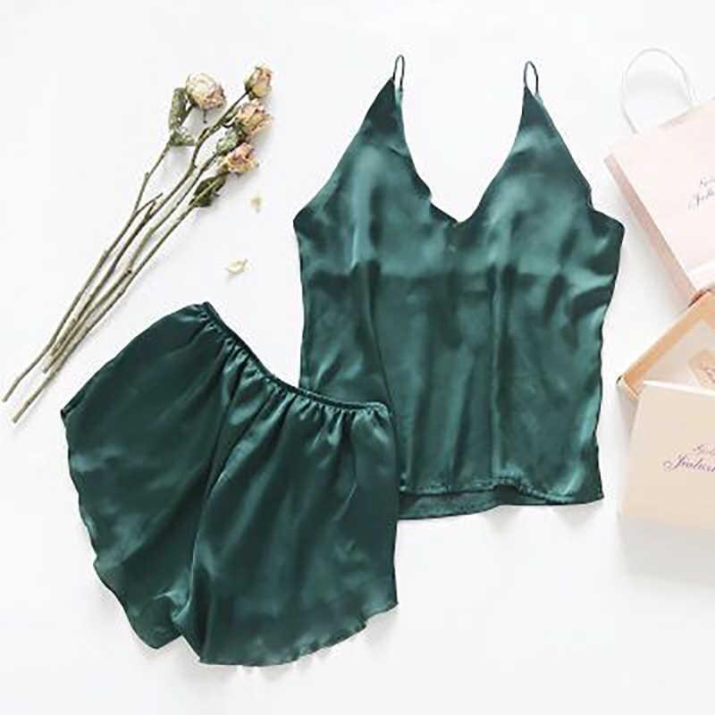 Сексуальные женские шелковые пижамы наборы Бесплатная доставка 2018 новый дизайн короткие штаны пижамные комплекты топы с v-образном вырезом пижамные комплекты синий