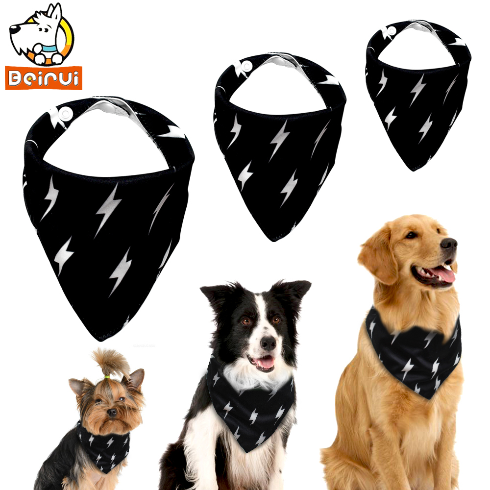 Adjustable Dog Bandana Black Pet Accessories Triangular Bandage Cat Neckerchief Printed Dogs Bib for All Breeds Pitbull Yorkie(China)