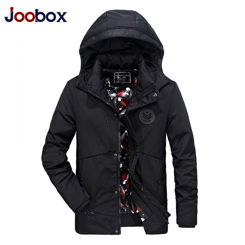 JOOBOX Brand 2017 High Quality Cotton 100% Mens Winter Jackets And Coats Hooded Thick Warm Casual Young Men Parka Fit Snow Cold men warm coats winter snow thick hooded slim fit down parka brand design casual cotton fashion padded outwear sl e437