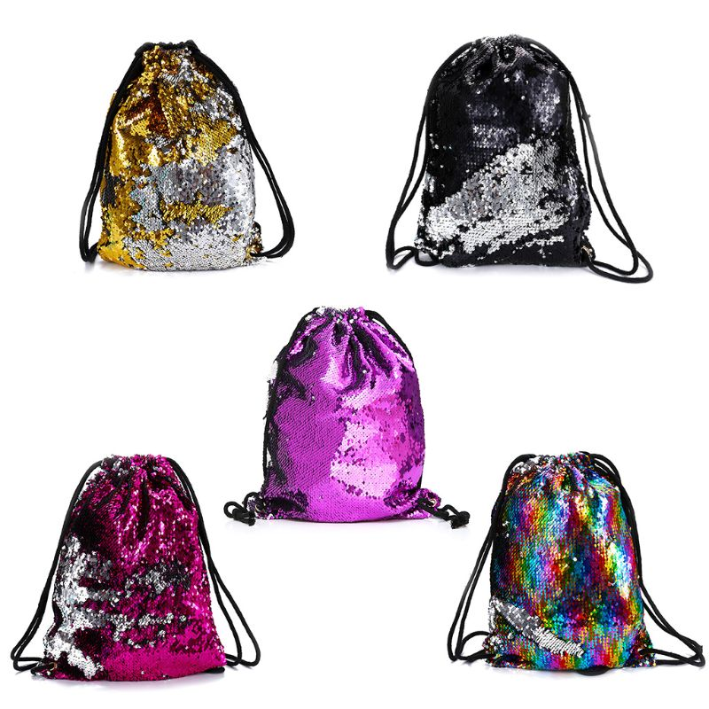 Reversible Sequin Drawstring Backpack Glitter Cinch Pack Bags Flip Sequins Shining Sports Rucksack For Kids Adults