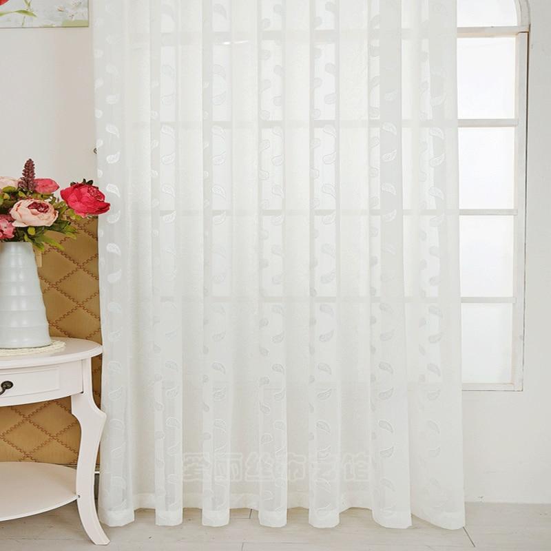 Jacquard Sheer Window Curtain Pastoral Style sisekujunduse kodu Tülli kardinad elutoa üksikutele paneelidele (B607)