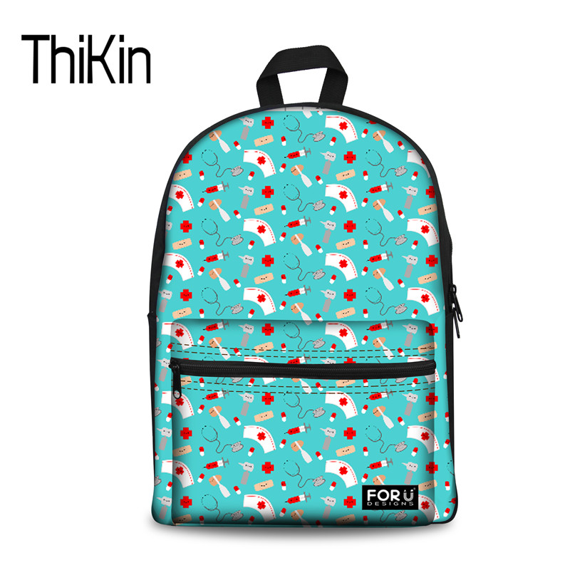 THIKIN Fashion Large Schoolbag For Women Travel Casual Canvas School Backpacks Happy Nurse and Friends Printing Children Bookbag