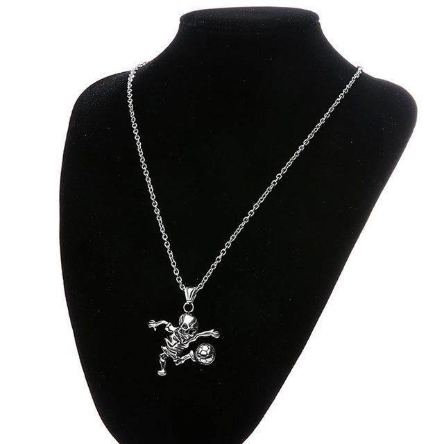 STAINLESS STEEL SKULL FOOTBALL NECKLACE