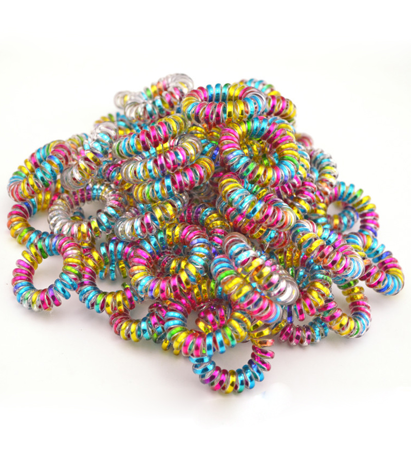 Wholesale 100Pcs/Lot Colorful Telephone Wire Cord Line Gum Holder Elastic Hair Band Tie Scrunchy 3.5cm Hair Accessory
