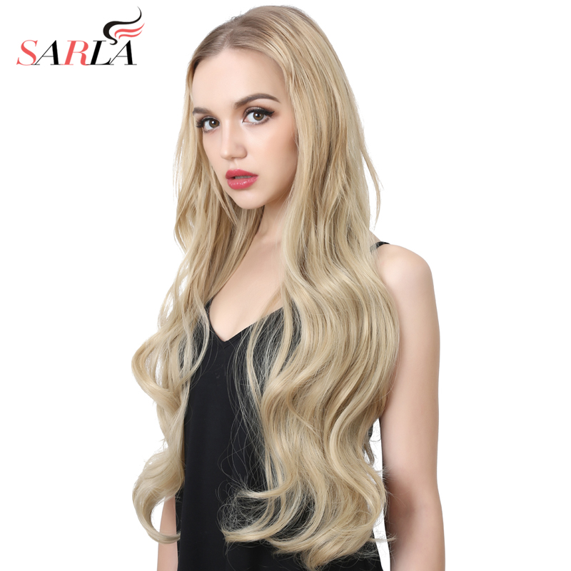 SARLA 70cm 28'' Long Body Wave U Part Half Wig For Natural Hair Tsingtaowigs Wonder Black Blonde Hair Extension Synthetic Wig 09