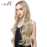 SARLA 70cm 28'' Long Body Wave U Part Half Wig For Natural Hair Tsingtaowigs Wonder Black Blonde Hair Extension Synthetic Wig 09