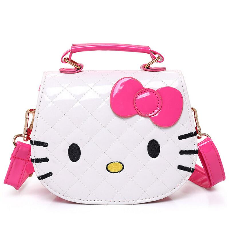 Hot Fashion Hello Kitty Bow Messenger Bag For Girls PU Leather Crossbody Shoulder Bag Handbags Flap Bags High Quality hanup new high quality women clutch bag fashion pu leather handbags flap shoulder bag ladies messenger bags crossbody purse