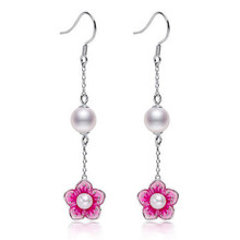 DMCEFP053 4-5MM/6-7MM Round Pearl Earrings Real 925 Sterling Silver Earrings Women Gift(China)