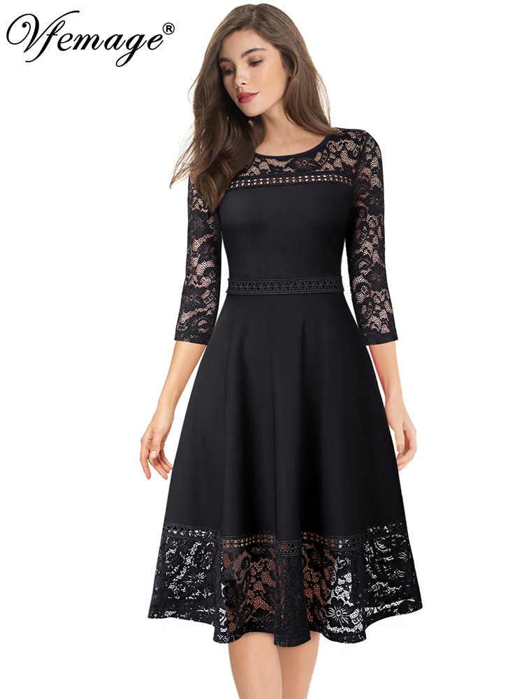 Vfshow, женские 3/4 рукава, кружева, пэчворк, иллюзия, подол, коктейльное, повседневное, вечерние, приталенное, расклешенное, ТРАПЕЦИЕВИДНОЕ, средней длины, до середины икры, платье 2090