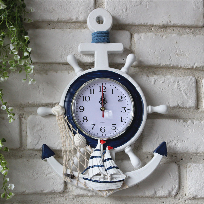 Mediterranean Style Blue  White Rudder Anchor Watch Electronic Table  Personality Wall Clock Decor Home Decoration Accessories