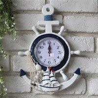 Mediterranen Stil Blau Weiß Ruder Anker Uhr Elektronische Tabelle Persönlichkeit Wanduhr Dekor Hause Dekoration Zubehör