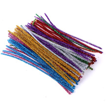 100pcs Glitter Chenille Stems Pipe Cleaners Plush Tinsel Stems Wired Sticks Kids Educational DIY Craft Supplies Toys Crafting 100pcs chenille wire plush chenille stems iron wire diy art craft sticks party decor pipe cleaner 6mm x 12inch assorted colors