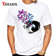 Summer T-Shirt Men Women 3D Print Butterfly Swirl Hypnosis Tree Funny Graphic Tees Casual White Tee Shirts Unisex Tops