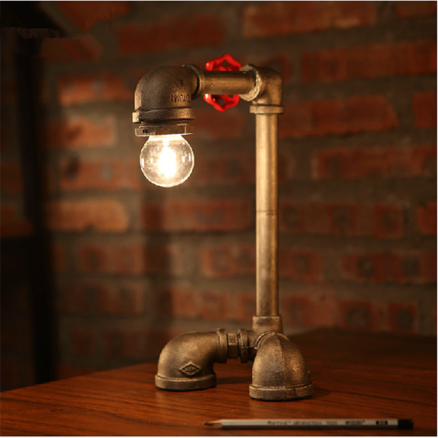 edison table lamp vintage home lighting. Novel Industrial Water Pipes Steampunk Table Desk Lamp Vintage Edison Decoration Bar Home Art Deco Kits Lighting S