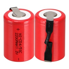 Anmas Power 2-16pcs Red 1.2V 4/5 SC Sub C 2200mAh Ni-CD nicd Rechargeable Batteries with Tab