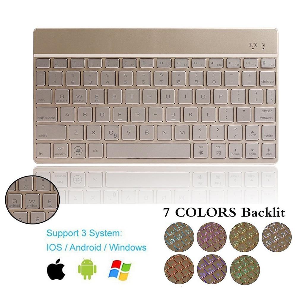 zienstar ultra slanke draadloze bluetooth toetsenbord met 7 kleuren led achtergrondverlichting voor ipadiphonemaclaptopdesktop pctablet in zienstar