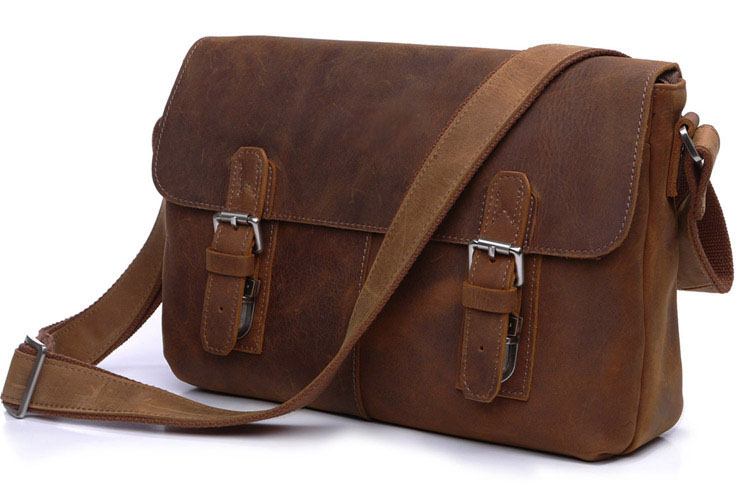 Vintage 100% Guaranteed Crazy Horse Genuine Leather Bag Men Messenger Bags Brown Cowhide Shoulder Bags Crossbody Mens Bag J6002B