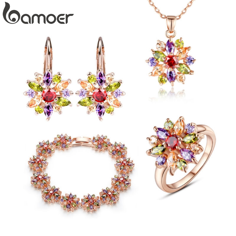 BAMOER Bridal-Jewelry-Sets Zircon Rose-Gold-Color Wedding Women More for with High-Quality