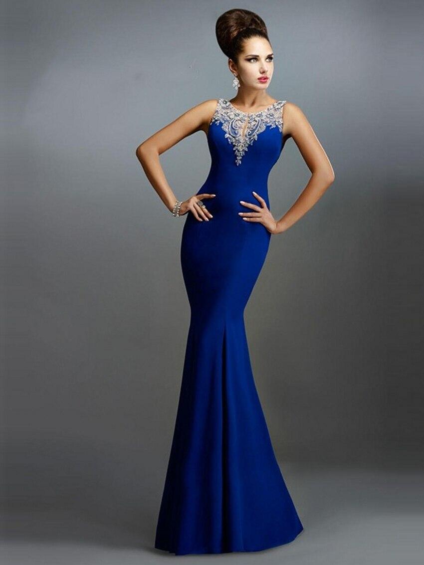 Popular Long Blue Mermaid Prom Dress-Buy Cheap Long Blue Mermaid ...