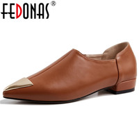 FEDONAS Fashion Sexy Metal Pointed Toe Pumps Low Heels Genuine Leather Spring Autumn Shoes Woman Slip oN Retro Party Pumps