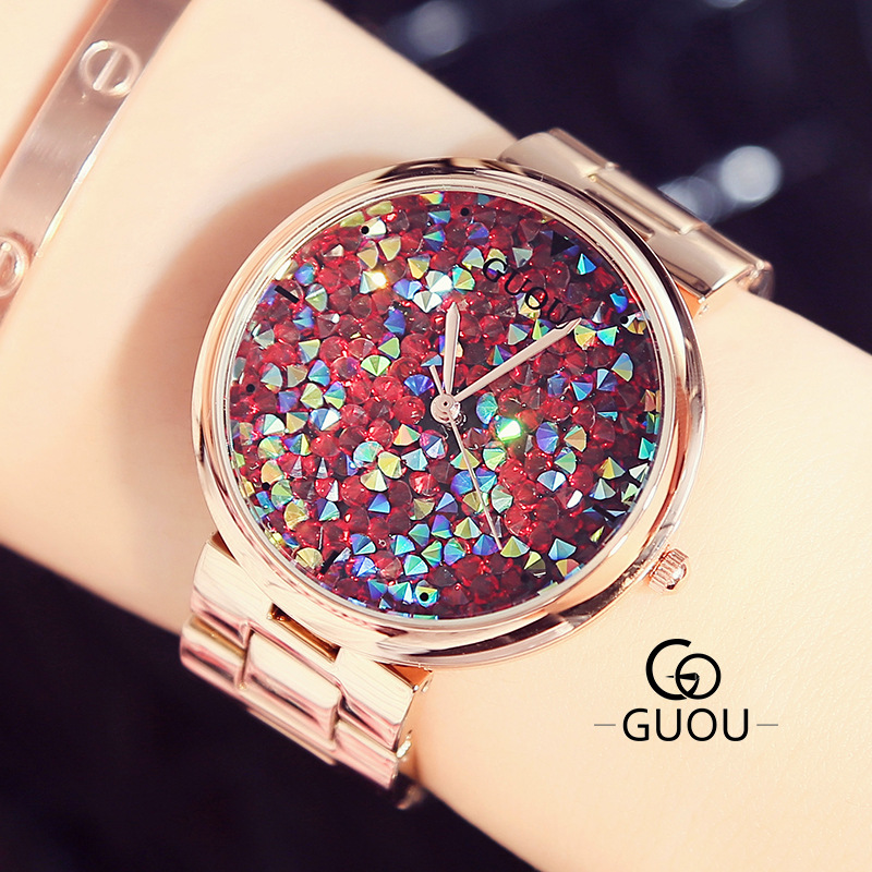 GUOU Brand Ladies Watch Luxury Rhinestones Glitter Quartz fashion wristwatches waterproof Clock Women Watches relogio feminino