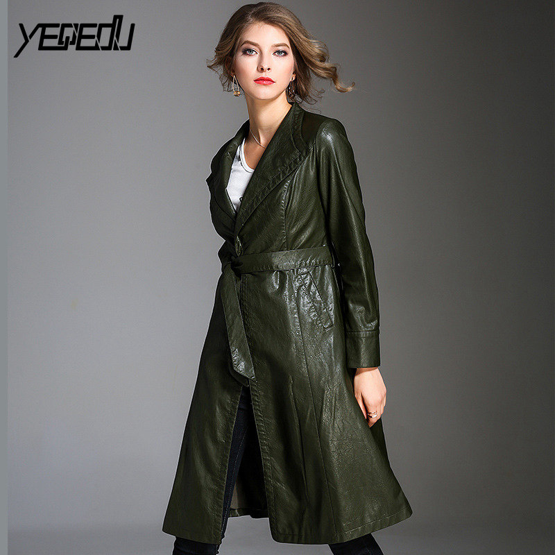 #3322 Adjustable Waist Runway PU   Trench   Coats For Women Elegant Faux Leather Coat Fashion Plus Size 3XL Elegant   Trench   Femme