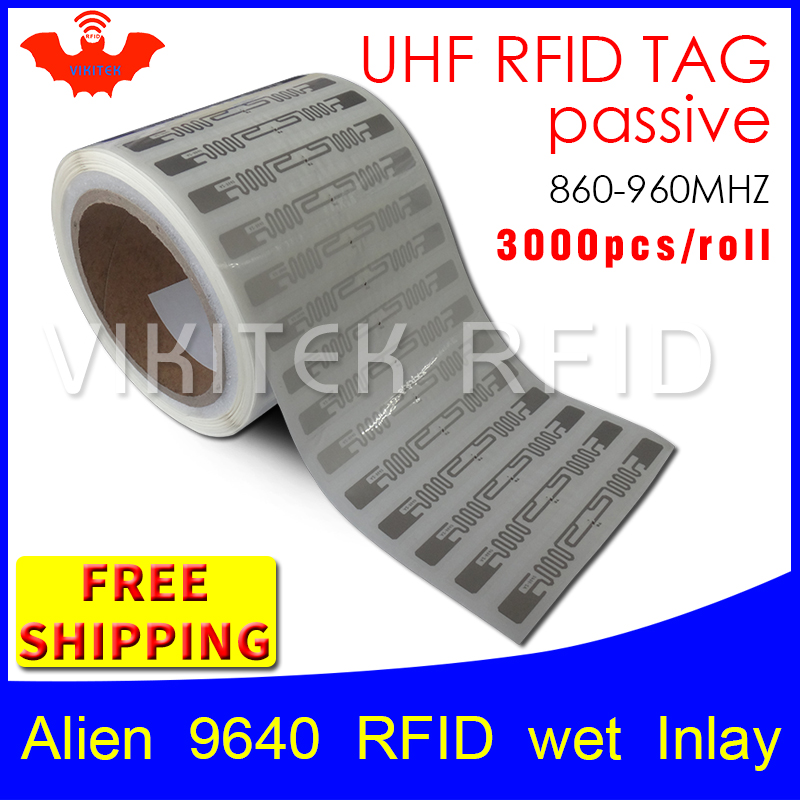 UHF RFID tag sticker Alien 9640 EPC6C wet inlay 915mhz868mhz860-960MHZ Higgs3 3000pcs free shipping adhensive passive RFID label rfid tag uhf sticker alien 9640 epc6c printable copper label 915mhz868m higgs3 2000pcs free shipping adhesive passive rfid label