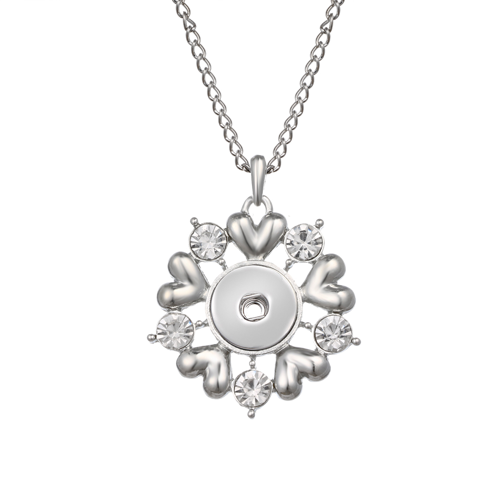 2018 New Flower Pendant Necklace 18mm Snap Button Jewelry Metal Necklace with Link Chain Free Shipping