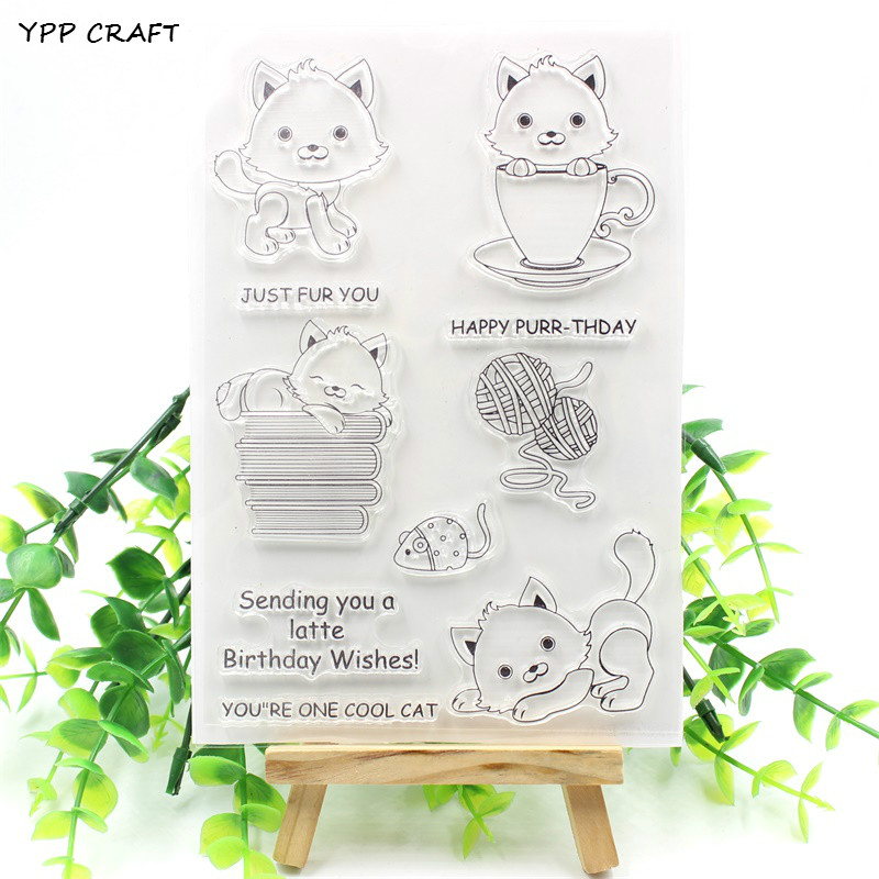 YPP CRAFT Lovely Cats Transparent Clear Silicone Stamps for DIY Scrapbooking/Card Making/Kids Christmas Fun Decoration Supply