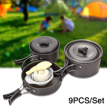 9Pcs/Set Picnic camping tableware outdoor cookware picnic tableware Non-stick Pots Bowls hiking utensils for 2-3 persons D20 стоимость
