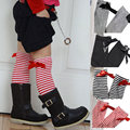 2016 Girls Knee High Socks with Bow Kids Boot Socks Stripe Cute Princess Long Socks for School Baby Solid Color Leg Warmer Brand