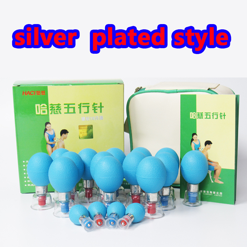 New Type HACI Magnetic Acupressure Suction Cups Chinese Vacuum Cupping Set Massage Therapy SILVER Plated -18
