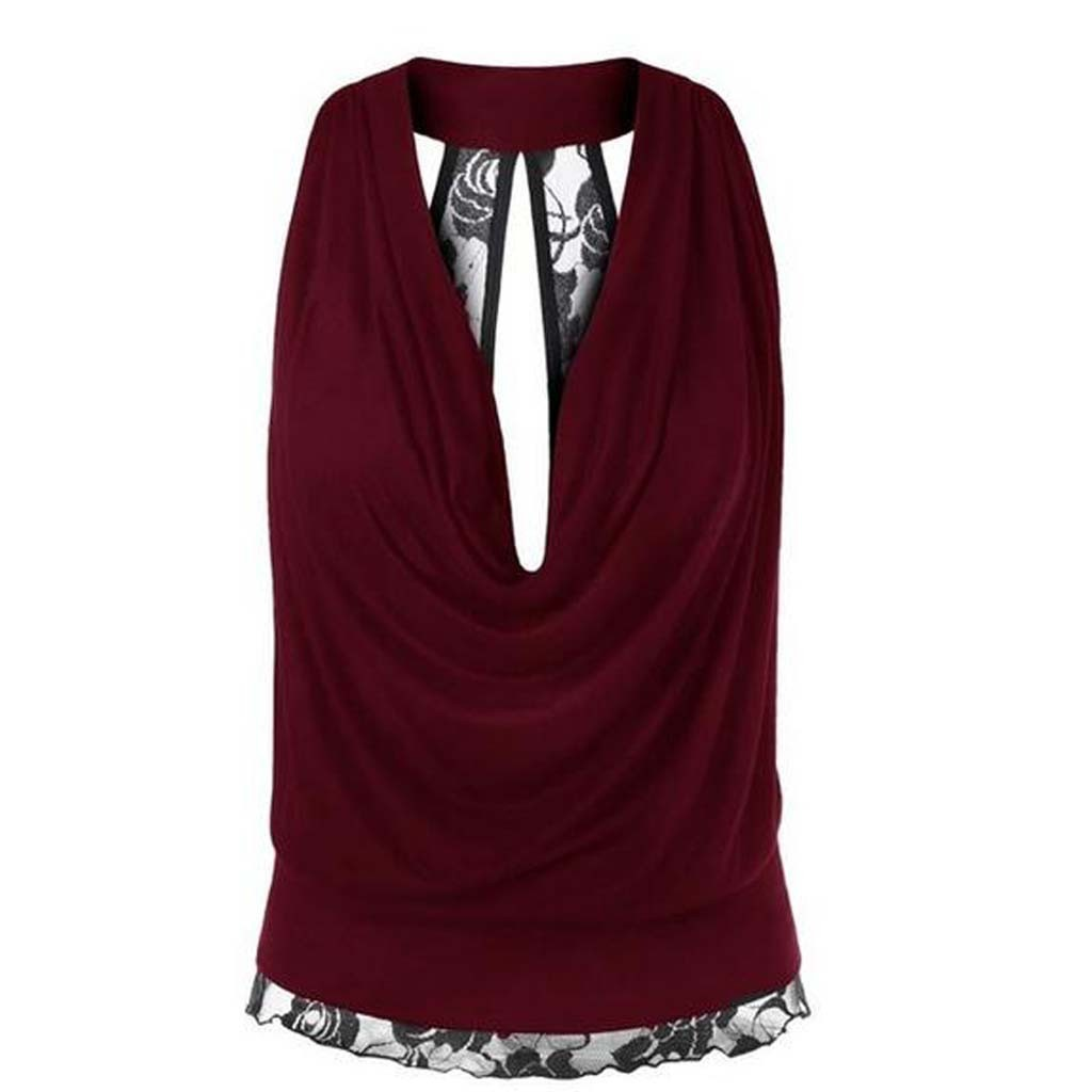Women Lace Patchwork Boho T Shirts 2019 Summer Halter Sleeveless Shirt Tops Female Solid Casual Loose Plus Size tshirt sexy top in Tank Tops from Women 39 s Clothing