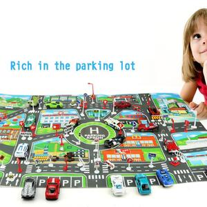 Image 3 - Enfants bricolage voiture Parking carte jouets 83x58CM bébé escalade tapis de jeu enfants jouets ville Parking carte routière carte cadeau de noël