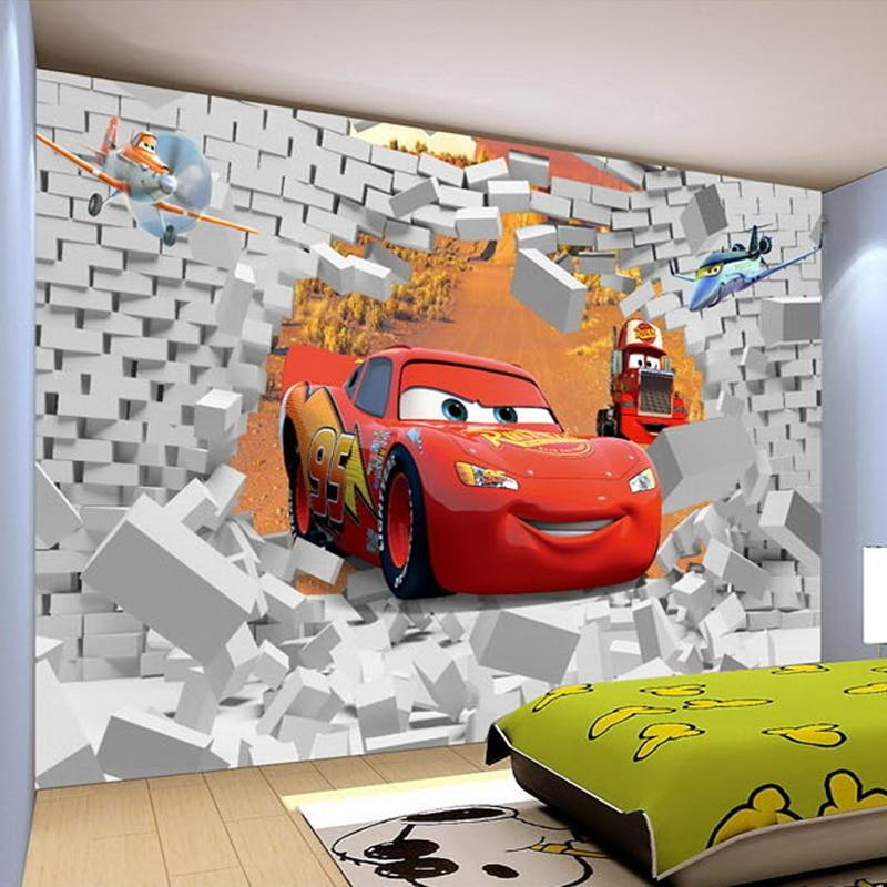 3d broken brick wall cartoon red cars photo mural for Cars wallpaper mural