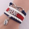 ( 10 pçs/lote ) amor infinito GRONK futebol NFL NHL MLB qualquer nome de qualquer cor custom made pulseira de couro charme pulseiras e braceletes