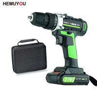 21V Cordless Screwdriver Electric Drill Battery Mini Drill Rechargeable Electrical Tools 2 Speed +Smart Electric Display