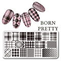 BORN PRETTY Rectangle 12*6cm Nail Art Stamp Template Checked Design Image Plate L041