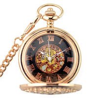 2017 WOONUN Luxury Men Pocket Watches Fashion Rose Gold Skeleton Mechanical Hand Wind Pocket Watches Fob Watches With Chain