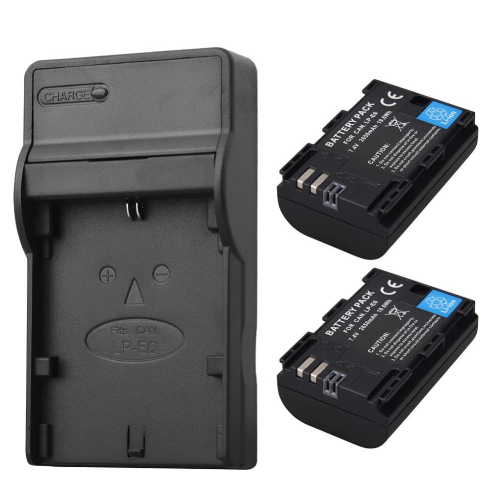 2PCS 2650mAh <font><b>LP</b></font>&#8211;<font><b>E6</b></font> <font><b>LP</b></font> <font><b>E6</b></font> LPE6 Camera Battery with <font><b>Charger</b></font> For Canon EOS 5DS R 5D Mark II III 6D 7D 60D 60Da 70D 80D DSLR EOS