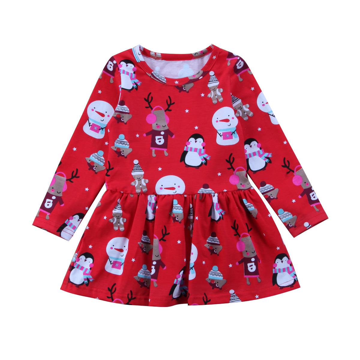 Baby Girls Snowman Christmas Party Princess Dresses Long Sleeve Tulle Tutu Dress For Xmas