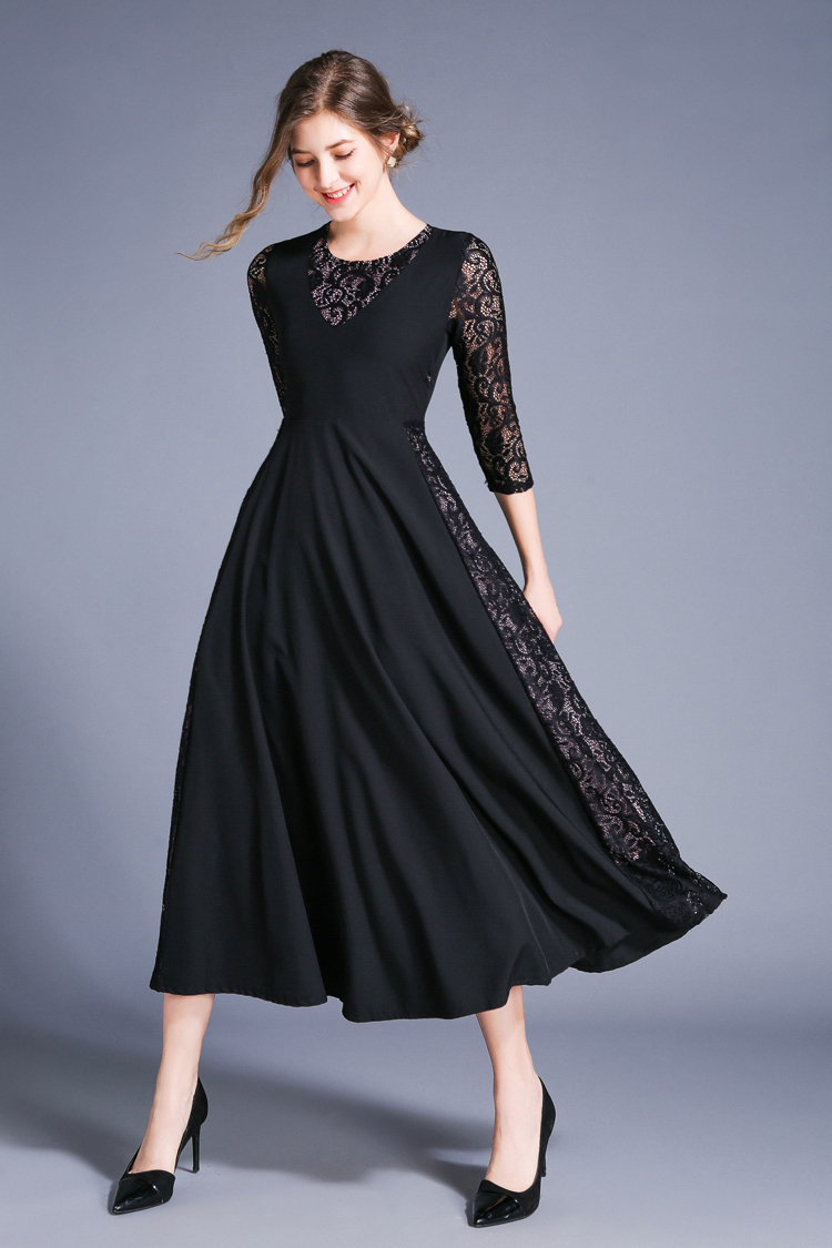 Retro Swing Hollow Out Lace A-Line Black Dress 4