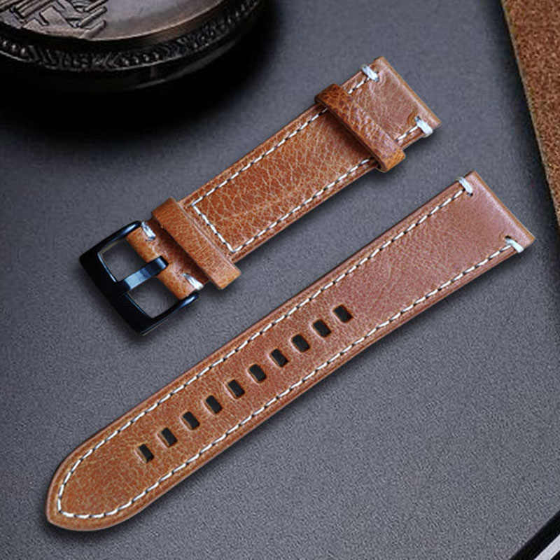Genuine Leather Watchbands Bracelet Black Coffee Brown Cowhide Watch Strap For Women Men 18mm 20mm 21mm 22mm 24mm Wrist Band