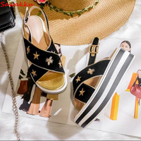 Summer Roma Style Thick bottom Women Sandals Solid Cozy Gladiator Sandals Platform Flats Fashion Gold Stars Bee Embroider Shoes