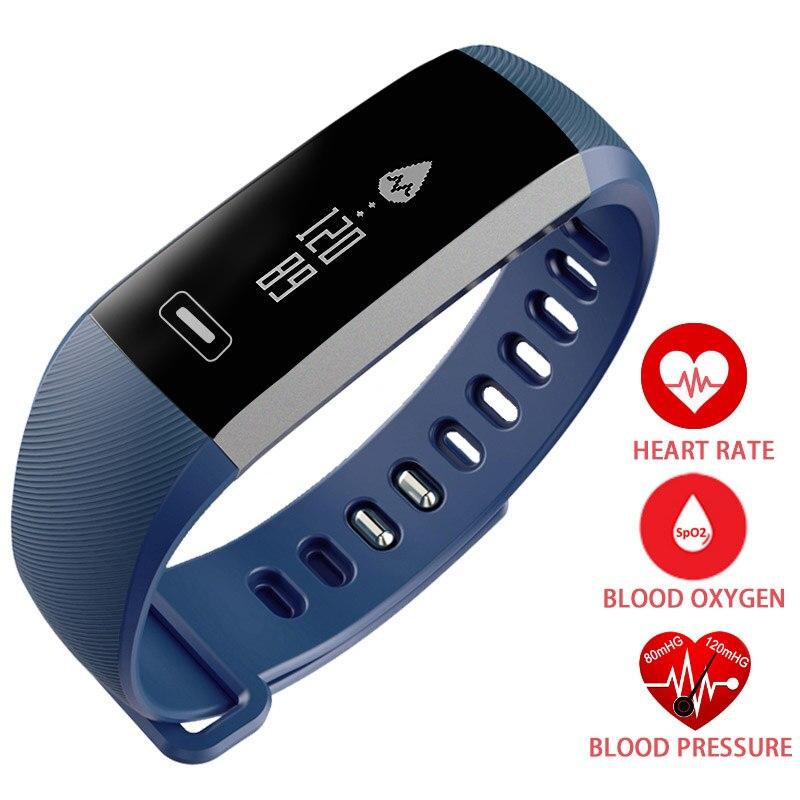 Pulseira de Banda de freqüência cardíaca monitor de sono inteligente Pressão Arterial Oxímetro De Oxigênio Do Esporte Pulseira de Calorias Relógio inteligente iOS Android