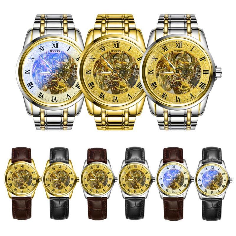 1pc 2017 new fashion men male business watch wrist clocks hour hollow Waterproof Automatic Mechanical Wristwatches