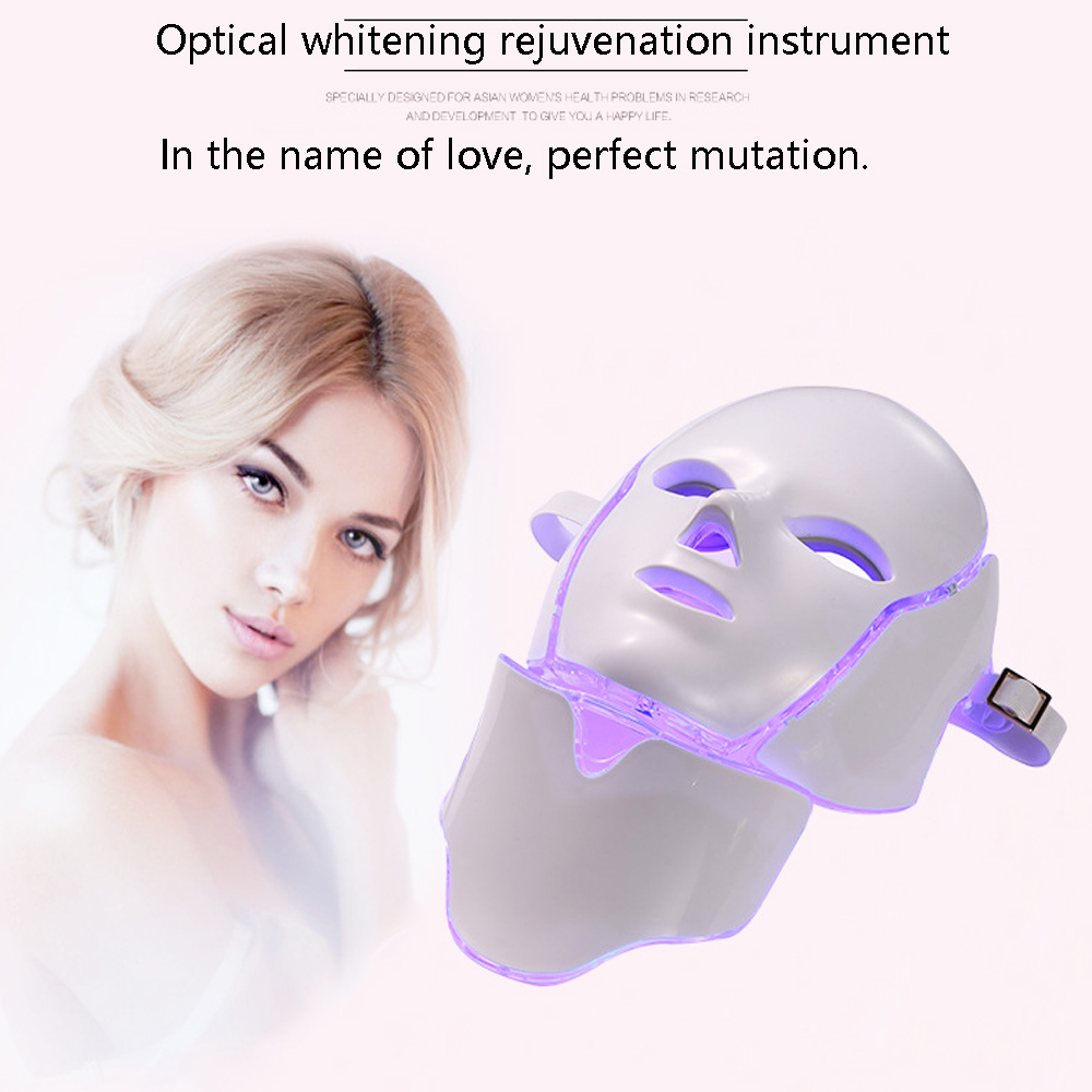 NEW EMS Microelectronics LED Photon Mask 7 Color LED Facial Neck Mask Micro-current For Wrinkle Acne Removal Face Beauty Spa anti acne pigment removal photon led light therapy facial beauty salon skin care treatment massager machine